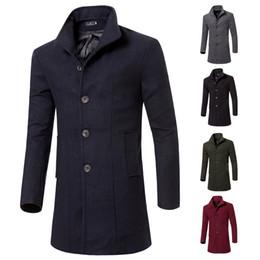 2020 uomini lunghi del cappotto del tessuto 2017 di alta qualità trench coat top uomo autunno stile doppio petto trench coat panno di lana tessuto lungo mens sconti uomini lunghi del cappotto del tessuto