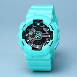 Wholesale Baby Camels - BABY Lake blue AA new women ga100 Sports led Watches LED Digital 110 Wristwatch Waterproof S Shock Watch 50m All function Work with baby Box