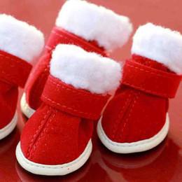 Sapatos de vestido de cachorro on-line-Dog Shoes Inverno Quente Botas De Neve Natal Vestir Pequeno Cão De Estimação Chihuahua Grosso Fundo Macio Botas De Neve De Defesa Do Filhote De Cachorro Mistura De Algodão Sapatos