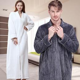 93c0ffdad2 Men Extra Long Thermal Flannel Bath Robe Zipper Plus Size Thick Warm Coral  Fleece Bathrobe Women Mens Dressing Gown Winter Robes