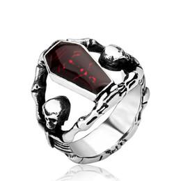 Anéis de vampiro on-line-Punk Gótico Vampire Diaries Esqueleto Crânio Anéis de Caixão Esmalte Vermelho Sangrento Anéis Para Homens FRETE GRÁTIS