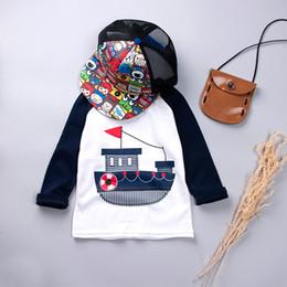 Bootshals-baumwollt-shirt online-Jungen-T-Shirt Süßigkeit-Farben-lange Hülsen-Baby-Mädchen-T-Shirts Baumwollkinder T-Shirt O-Ansatz T-Stück-Jungen-Kleidung Karikaturboot
