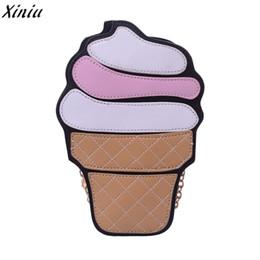Кремовые топы онлайн-Женщины Сумочка Мороженое Форма Кожа Молния Сумка Полосы Цепи Сумка Кошелек Сумка Bolsas De Ombro #7025
