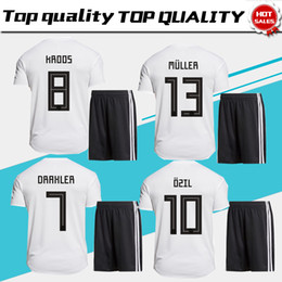 Wholesale Men White Suit Shirts - 2018 world cup #10 OZIL home Soccer Jersey suit 2018 national team soccer shirt kit#13 MULLER #8 KROOS Football uniforms jersey+shorts