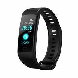 Wholesale brown monitor - Y5 Smart Watch Blood Pressure Real-time Heart Rate Monitor Pedometer Smart Watch Vibrating Alarm Clock Smartband