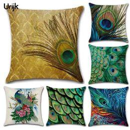 Cojines con estampado de plumas online-Urijk Home Cojines decorativos Funda de cojín de alta calidad Peacock Feather Print Pillow Cover Lino Sofá cuadrado Cómodo
