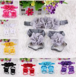 Niñas sandalias descalzos infantiles online-sandalias descalzas sandalias de la flor del pie colorido + diadema conjunto para bebés niñas bebés niñas diademas de flores flor del pie hairband 20 colores