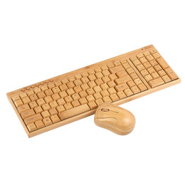 Wholesale wooden keyboards - 2.4G Wireless Bamboo PC Keyboard and Mouse Combo Combos Computer Keyboard Mice Office Handcrafted Natural Wooden Plug and Play