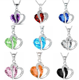 2019 coração, colar, valentine Frete Grátis Moda de Alta Qualidade 925 de Prata Diamante jóias Coração Zircão Colar De Cristal Presentes de Feriado Do Dia Dos Namorados HJ193 coração, colar, valentine barato