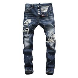 Argentina famosa marca italiana de lujo marca DS slim fit patchwork denim rasgado cremallera biker pantalones vaqueros flacos agujero para hombres algodón hombres pantalones bolsillo Suministro