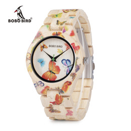 Wholesale Round Bamboo Box - Wholesale BOBO BIRD Ladies Watches Bamboo Wood Quartz Butterfly Hour Brand Designer Festival Gifts with Box Drop Shipping