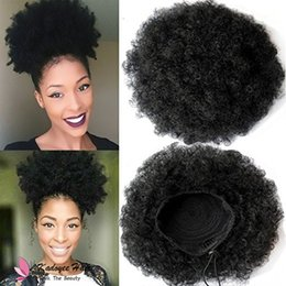 Wholesale hair updo buns - Synthetic Ponytail in OFF BLACK fro Drawstring Ponytail Biba Platinum Afro Ponytail Puff Drawstring Wrap Curly Hair Bun Updo Chignon