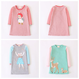 Wholesale dear dress - Everweekend Kids Girls Spring Autumn Cartoon Knitted Sweater Party Dresses Candy Color Mouse Chicken Dears Christmas Dress