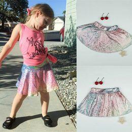 Wholesale Kids Rainbow Gown - Baby Girls Mermaid Skirts New Kids Fashion Sequin Rainbow Tu tu Skirts Infant Summer Dress Girls Princess Skirt