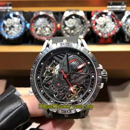 2019 doble reloj tourbillon Lujo Nuevo Excalibur RDDBEX0686 Skeleton Dial Doble Tourbillon Japón Miyota Reloj automático para hombre Caja plateada Correa de goma Relojes deportivos doble reloj tourbillon baratos