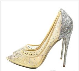Wholesale Mesh Dress Rhinestones - Hot 8 spring summer Elegant styles women shoes Rhinestone red bottom high heels crystals pointed toe mesh Pumps woman red sole wedding shoes