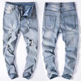 Wholesale Printed Leggings Plus - Kanye High Streetwear Men Broken Holes On Knee Demin High Elastic Slim Fit Jeans Light Blue Leggings