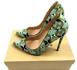 Wholesale hand painted heels - 2018 new style women red bottom high heels shoes hand-painted pattern pointed toe green serpentine lady wedding shoes +dust bag+box