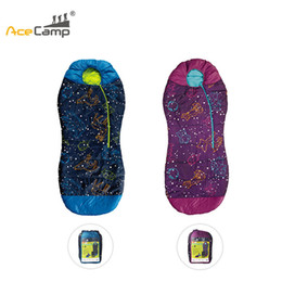 Wholesale glow temperature - AceCamp Kids Sleeping Bag Mummy Style Temperature 30F  -1C Head Bundle Bottom Seal Glow-in-the-dark Sleeping Bags