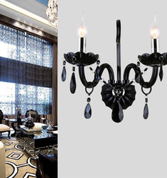 Wholesale Crystal Wall Lamp Chandelier - Modern Black Crystal Wall Lamps Luxury Wall Lights Chandelier Crystal Lamp Wall Lamp Bedroom Beside Light New