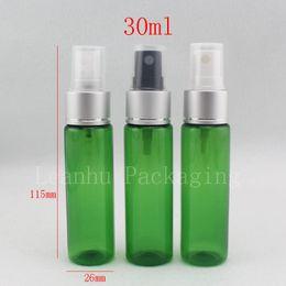 2019 garrafas de alumínio verde por atacado Atacado 30 ml de alumínio verde névoa fina spray frascos de perfume para cosméticos, embalagem profissional, 1 oz pequeno pulverizador de garrafas desconto garrafas de alumínio verde por atacado