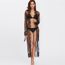 2018 Eyelash Lace Trim Plus Size Malla bata con cinturón negro manga larga hasta el tobillo Kimono blusa Mujeres Sexy ropa de dormir desde fabricantes