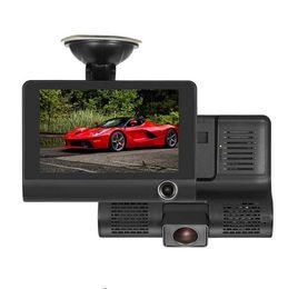 2019 obiettivo nero doppio dell'automobile Registratore automatico di retrovisione del registratore della macchina fotografica del registratore della macchina fotografica di automobile di modo di 4.0 '' 3 con due macchine fotografiche Dash Cam DVRS doppia lente Scatola nera obiettivo nero doppio dell'automobile economici