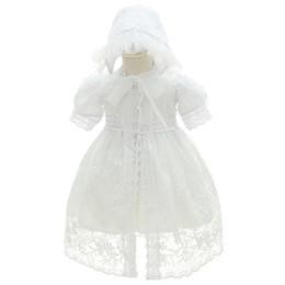 Canada Usine Outlet Bébé Fille Baptême Baptême Robes Enfant Princesse Mariage Occasion Spéciale Robe 3 Pcs Tenues Pour Bébé 0-24 mois avec Chapeau Offre