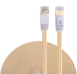 Cable ethernet de velocidad online-Cat 7 Ethernet Cable, Nylon Trenzado 16ft CAT7 Alta velocidad Profesional chapado en oro Plug STP Wires CAT 7 RJ45 Cable Ethernet 16ft