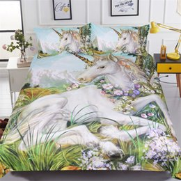 Wholesale green king size bedding sets - White horse bedding sets 3pcs 3d unicorn printed comforter cover king queen twin sizes girls kids duvet cover sets Home textile