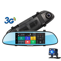 "Lente de zoom de vídeo online-7 ""3G Touch IPS Coche DVR incluido Espejo retrovisor DVR GPS Bluetooth WIFI Android 5.0 Doble lente FHD 1080p Video Recorder Dash Cam"