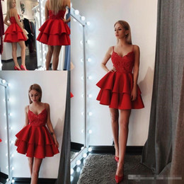 Wholesale Nude Sequin Mini Dress - Little Red Mini Short Cocktail Dresses 2018 New Sexy Backless Spaghetti Straps Sequins Appliques Cute Evening Gowns Above Knee Length
