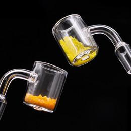 Quarz Banger Thermochromic Banger gelb Sandeinsatz Doppel 14mm Quarz Banger 10mm 18mm männlich weiblich domeless nail dab Ölbohrinsel Bong von Fabrikanten