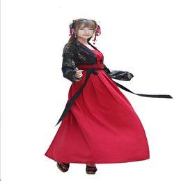 Китайский наряд черный онлайн-Китайский династии Тан одежда древнее платье костюм женский Фея Ханфу взрослый сезон фотографии черный красный леди уникальный наряд