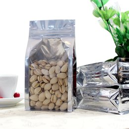 Wholesale Thick Plastic Ziplock Bags - Aluminum foil front clear stand zipper bag  Self-Sealed Plastic Ziplock pouch  Thick Food Tea Package