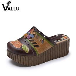 Wholesale Leather Platform Slide - Women Slippers 2018 Closed Toes Women Sandal Slides Genuine Leather Platform High Heels Handmade Women's Wedge Shoes