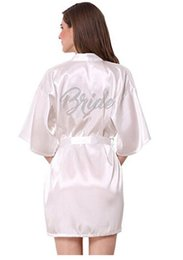Fashion Silk Bridesmaid Bride Robe Sexy Women Short Satin Wedding Kimono Robes  Sleepwear Nightgown Dress Woman Bathrobe Pajamas bce59625e