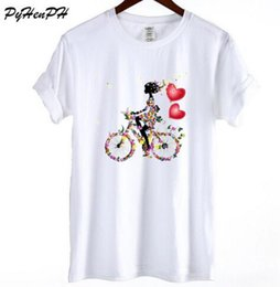 Wholesale bicycle print shirt - Summer Brand T-shirt Women 2018 Fashion Floral Flowers Printed T Shirt Woman Harajuku Girl Riding Bicycle Tshirt Top Lady Blusas