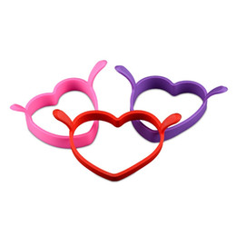 Wholesale double resistance - Creative Double Handle Heart Shape Egg Ring Food Grade Silicone Heat Resistance Eggs Mold Love Mould Lover Gifts Kitchen Tools 1 2js Z