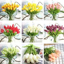 Tulpen sträuße online-Neue hochwertige dekorative Blumen Großhandel - 120pcs / lot Tulpen Nachahmung Blumenhochzeitsblumenstraußhauptdekorationen T2I247