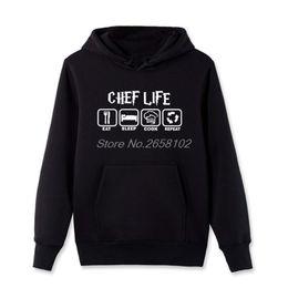 Wholesale Cool Hooded Sweatshirts - Funny Cool Eat Sleep Cook Hoodies Men Spring Casual Cotton Pullover Sweatshirt New Chef Life Fleece Hooded Streetwear