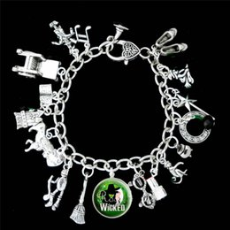 Wholesale Musical Charms Bracelets - 12pcs Wicked Musical Charm Bracelet The Untold Story Of The Of Oz silver tone