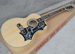 """voando guitarra branca Desconto Atacado 43 """"cor natural de madeira SJ Elvis guitarra acústica com fretboard rosewood, osso saddle / nut, Maple volta / lateral, pode adicionar captadores fishnman"""