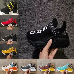Wholesale Womens Size 12 Flat Shoes - Wholesale Big size NMD HUMAN RACE Trail boost Mens Running shoes nmds Hu ultra boosts yellow black white womens Sport sneakers US 5-12