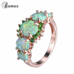 Wholesale opal mothers ring - Bamos Green Orange Fire Opal Finger Ring Exquisite Rose Gold Filled Wedding Rings For Women Luxury Jewelry Mothers Day Gift