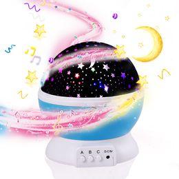 2019 lámpara giratoria led 3D Night Child proyector música Night Light Proyector Spin Starry Star Master Niños Niños Bebé Sleep Romantic Led USB Lámpara de proyección lámpara giratoria led baratos