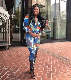 d2b4c8e74e6 2018 Casual Two-piece set Autumn winter long sleeve print sexy jumpsuits  women Bodycon Jumpsuit Rompers Joggers Bandage Suit-dress discount two piece  ...