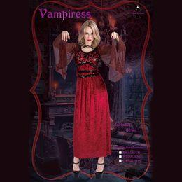 2019 женские костюмы ужасов Женщины Хэллоуин косплей костюм сценическое представление красный ужас вампир магия похудения свободные платья маскарад костюм дешево женские костюмы ужасов