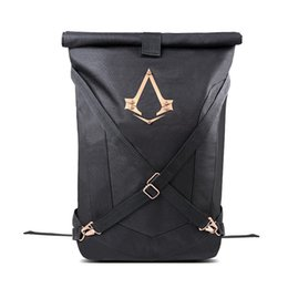 Wholesale New Official Assassins Creed Syndicate Logo Zaino pieghevole nero Zaino nero bqck Zaino universale per uomo e donna