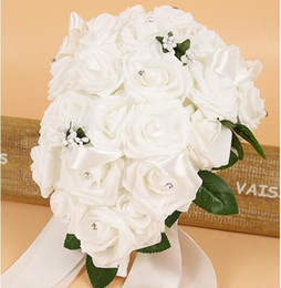 Wholesale Wedding Bouquet Bride Roses - Free shipping European and American wedding bridal water drops holding flowers wedding supplies bridesmaid bouquet flowers cheap